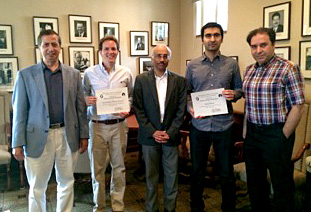 From left to right: Professor Abu-Mostafa, Wilts prize winner Carlos Roberto Gonzalez Palacios , Professor Vaidyanathan, Wilts prize winner Samet Oymak, and Professor Hassibi,