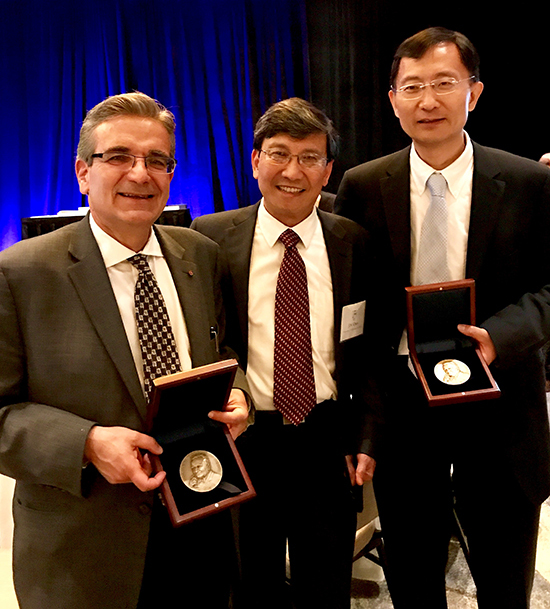 Professor Ares Rosakis (Caltech) and Professor Huajian Gao (Brown University) were awarded the 2016 and 2017 von Karman Medals, respectively, by Professor JS Chen (UCSD), President of the Engineering Mechanics Institute, ASCE, at its annual conference in San Diego, CA, in June, 2017.