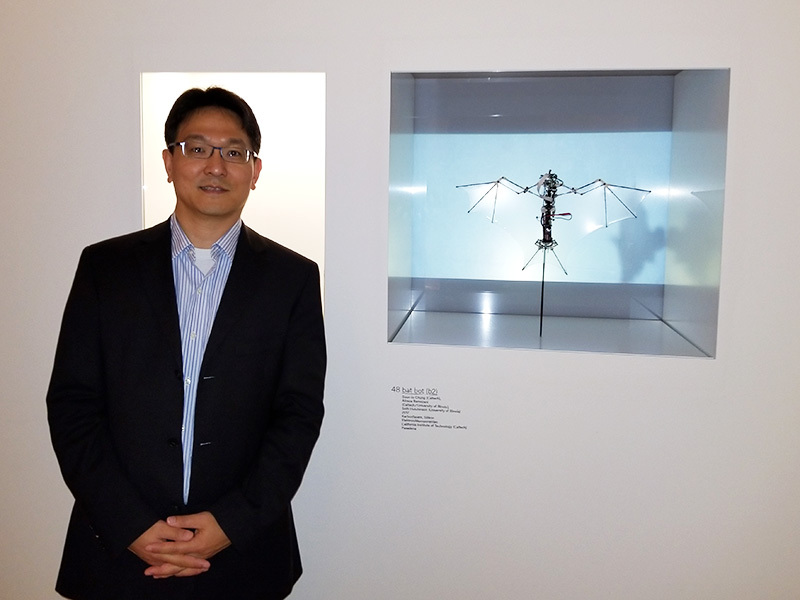 Professor Chung at the Museum of Arts and Crafts in Hamburg with Bat Bot