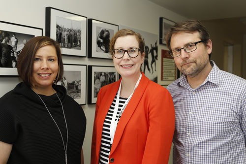 Exhibit co-curators (from left to right) Cassandra Volpe Horii, Susanne Hall, and Martin Springborg.