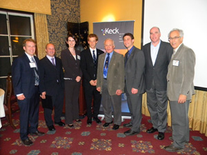 Left to right: Jon Mihaly, Garrett Reisman, Beverley McKeon, Jason Rabinovitch, Buzz Aldrin, Nick Parziale, Joe Parrish, and Tom Prince