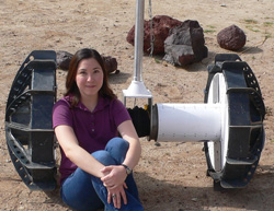 Melissa Tanner with an extreme-terrain rover