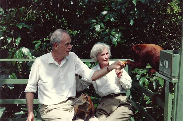 Francis Clauser and Catharine with friendly fauna in Brazil, 1992.