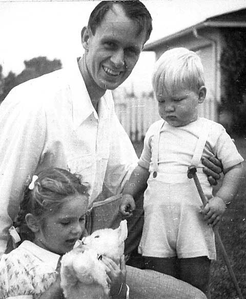 Francis Clauser with Caroline and son, John, in the family's new home in Pacific Palisades, 1942.